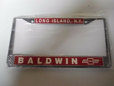 Baldwin Motion Chevrolet  License Plate Frame   -  Red/ White - Camaro, Chevelle