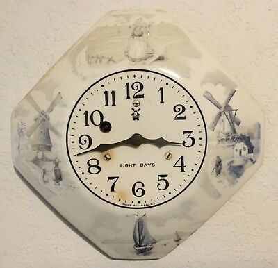 Irving Miller and Company, NY - Delft 8 Day Plate Wall Clock