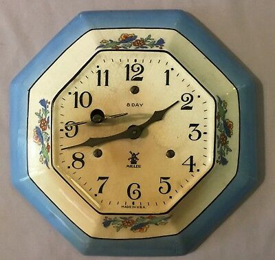 Miller 8 Day Delft Octagon Ceramic Plate Wall Clock