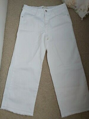 Zara girls white wide leg cropped jeans age 13-14 New and unworn