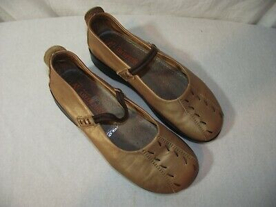 Arcopedico Womens 37 Shawna Shimmery Gold Slip On Flats Comfort Mary Jane Shoes