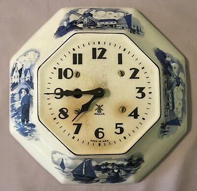 Miller 8 Day Delft Octagon Ceramic Plate Wall Clock - Duplicate Print