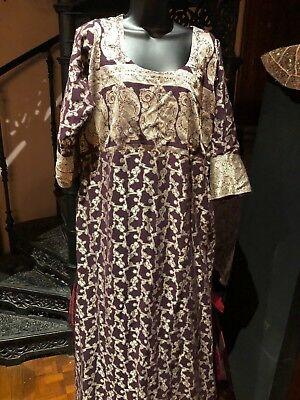 Hand Made Vintage Purple Silver Brocade Indian Paisley Salwar Dress