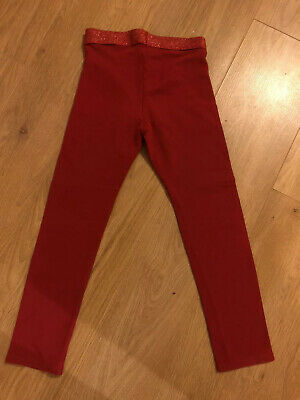 H And M KIDS GIRLS Red LEGGINGS 7-8 YEARS Sparkly Waist Band Organic Cotton