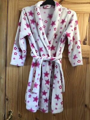ADAMS Girls Pretty White/PInk Stars Fleece Belted Dressing Gown Age 7-8yrs