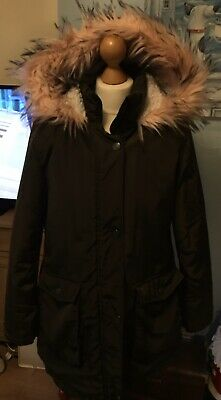 Next Girls Pink Fluffy Hooded Khaki Coat With Wooly Lining Age 15