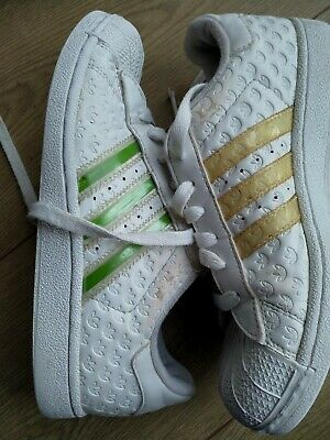 Adidas Superstar Girl's Leather Trainers White Size 4