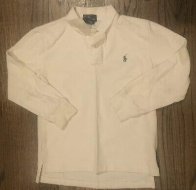 Polo by Ralph Lauren Boy's Long Sleeve Polo Shirt Size 7 Off White Cream Color