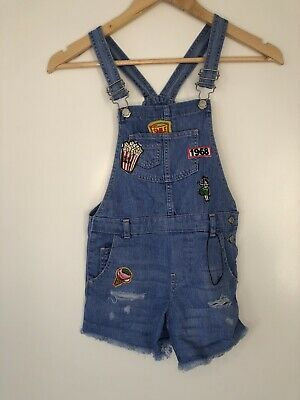✨NEW WITH TAGS Zara Girls Denim Dungarees Patch Shorts Age 7