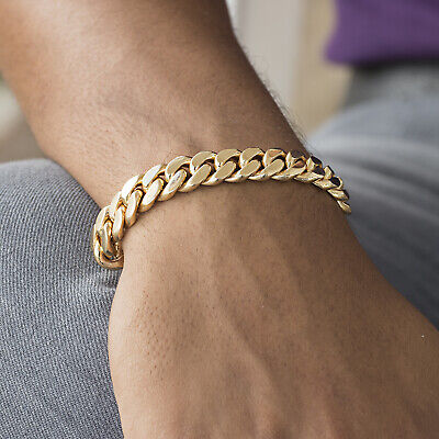 """Mens Cuban Link Chain Bracelet 18k Gold Plated Stainless Steel 7mm 6""""-11"""""""