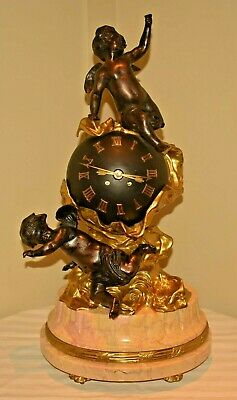 Antique Imperial French Mougin Marble Bronze Figural Cherub Globe Statue Clock