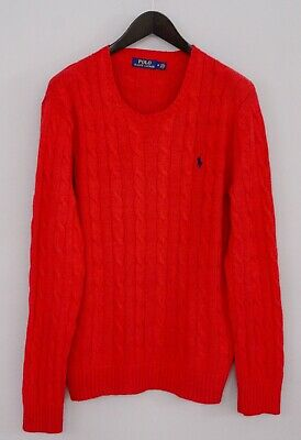 Men Polo Ralph Lauren Jumper Red Cable Knit Cotton Crew Neck M XMO634