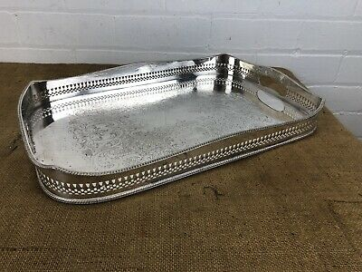 "Antique Silver Plate Gallery Serving Tray Sheffield Made 19"" Neoclassical Style"