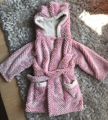 Baby Girls 18-24m Pink Warm Soft Fluffy Hooded Dressing Gown - Nutmeg, Excellent