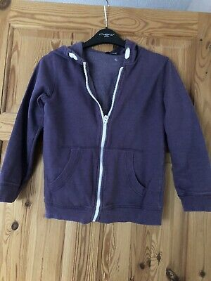 GEORGE Girls Pretty Purple Fleece Lined Zipped Hooded Top Age 9-10yr