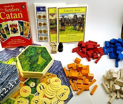 The Settlers of Catan BOARD GAME 483 Original Wooden Pieces & Catan CARD GAME