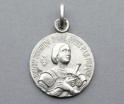 French, Antique Religious Silver Pendant. Saint Joan of Arc. Sterling Medal.