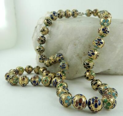 """Vintage Chinese Gold Enamel Champleve Cloisonne Bead Knotted 23"""" Necklace"""