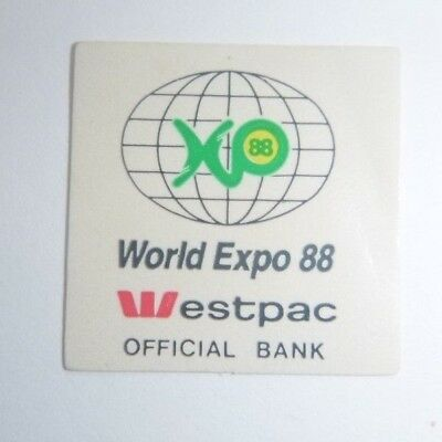 Vintage Sticker World Expo 88 WESTPAC BANK Collectable Advertising SMALL (2x2cm)