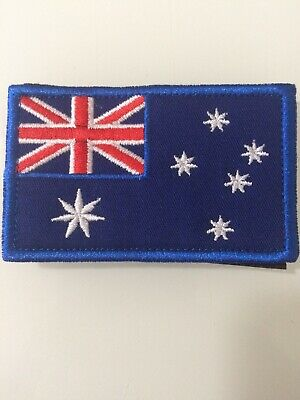 1 X Australian Flag Patch, Sew On Velcro Backing then stick On Pull Off 8x5cm