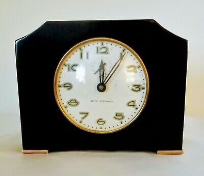 ART DECO Seth Thomas Alarm/Desk Clock-Marbelized Bakelite-Works and Keeps Time