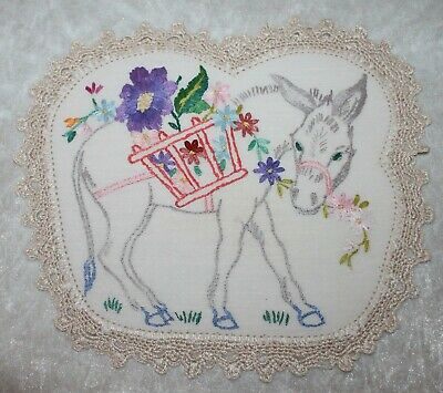 Small Vintage Embroidered Linen Doily ~ Donkey & Flowers