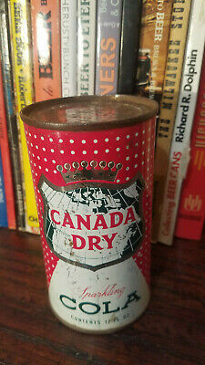 Canada Dry Sparkling Cola 12oz Flat Top Soda Can  bottom Opened Top Vanity lid