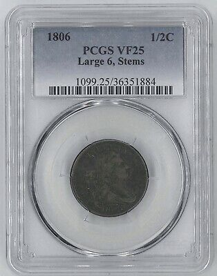 1806 Draped Bust Half-Cent 1/2c - *Large 6, Stems* Variety - PCGS VF25