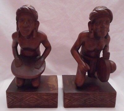 Vintage Pair of Hand Carved Aztec Musician Figurines