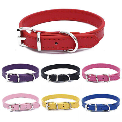 Adjustable Pet Dog Faux Leather Collar Puppy Cat Buckle Neck Strap Necklace S/M