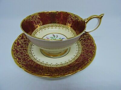 Vintage Aynsley Cup & Saucer Pattern #7840 - Maroon & Gold