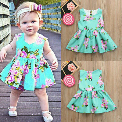 Toddler Baby Girls Infant Kids Floral Sundress Clothes Sleeveless Princess Dress