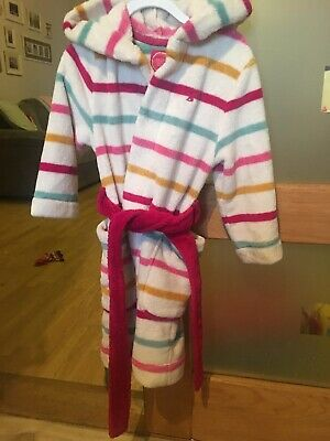 Girls Joules Dressing Gown, Age 3-4 Years, Stripes, Pockets, Hood