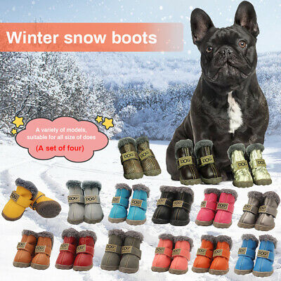 4 Waterproof Pet Shoes Winter Snow Cat Dog Booties for Chihuahua Puppy Warm Boot