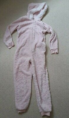 Ex Con Girls Pink All In One pc Sleepsuit Fluffy Hooded Trim Fleece 9-10yrs F&F