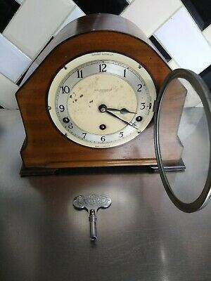 VINTAGE ANTIQUE Garrard Mantle Clock  Westminster chimes WORKING WELL WITH KEY