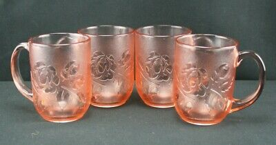 Vintage Arcoroc Rose Pink Rosaline Cups Mugs Made in France