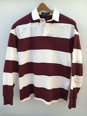Polo Ralph Lauren Mens Custom Fit Maroon Stripe Rugby shirt (M) Immaculate