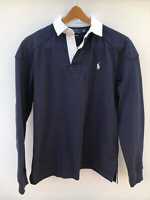 Polo Ralph Lauren Mens Custom Slim Fit Navy Rugby shirt ( M ) Immaculate
