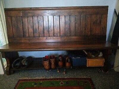 Gorgeous Pine Victorian Church Pew Settle Monks Bench with shoe boot storage