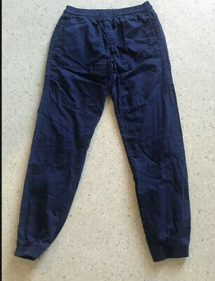 Boys Navy Blue Lined Combat Cuffed Bottom Trousers Age 13 14