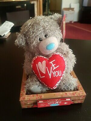 """Me to You 7"""" Tatty Teddy Bear  Holding Red 'Love You' Heart Valentines Gift"""