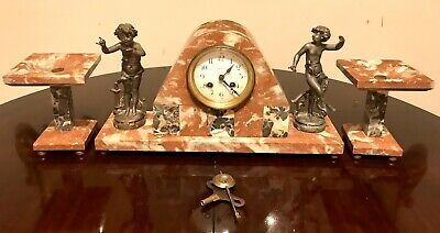 Antique French Artdeco Red Marble Mantel Clock With Garnitures