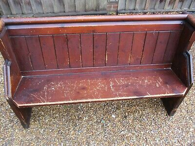 142cm OLD PINE CHURCH PEW . Delivery possible. ALSO CHAPEL CHAIRS & MORE BENCHES