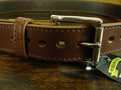 """Mens THICK Brown Stitched Bullhide Gun Belt 1 1/2"""" Fits 36-38"""" Made in USA"""