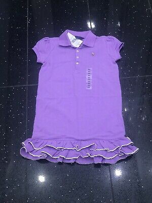 BNWT RALPH LAUREN Girls Designer Purple Polo Shirt Dress Size: 6X