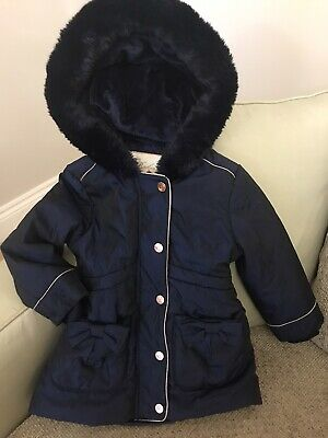 Girls Navy Ted Baker Coat Age 18- 24 Months