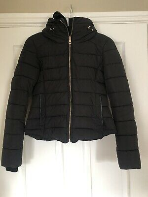 Zara Black Padded Womens Puffa Jacket  Fitted Size Small