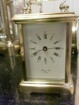 MINTED  ENGLISH CARRIAGE CLOCK  11 JEWEL INCABLOC WITH KEY V.G.C 8day