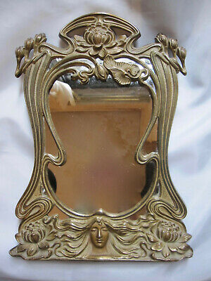 1910  ANTIQUE FRENCH ART NOUVEAU BRONZE WALL TABLE VANITY MIRROR Lady Floral #1